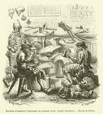 Boutique d'armurier, cuirassier, au seizieme siecle