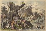 Macedonians using war elephants in a battle with the Dacians and Sarmatians