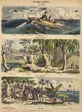 The Pacific: shipwreck survivors adrift on a raft in the South Seas; forest in New Holland (Australia)