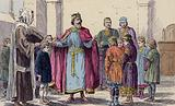 Charlemagne visiting a school