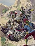 The Chevalier de Bayard single-handedly defending the Bridge of Garigliano, Italy, against the Spaniards, 1503