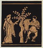 Jason, helped by Medea, taking the golden fleece