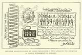 Imitation banknote etched by George Cruikshank in 1818, satirising the inflication of capital punishment for forgery