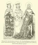 Richard II with his three protectors, St John the Baptist, St Edmund, and St Edward the Confessor, from an ancient diptych, now at Wilton, sketch from Hollar's print