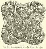 Quadrangular brooch, silver, Sweden