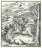 Archduke Maximilian of Austria hunting on horseback