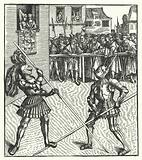 Archduke Maximilian of Austria fighting on foot using a lance