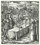Archduke Maximilian of Austria beside the coffin of the assassinated Louis de Bourbon, Prince-Bishop of Liege, 1482