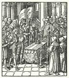 King Louis XII of France beside the coffin of his predecessor, King Charles VIII, 1498