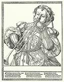 Woman playing a trombone or sackbut