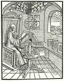 Room interior with a scholar at work, c1500