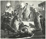 Tarquinius Superbus assassinating his father-in-law, Servius Tullus, to claim the Roman throne