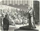 Demosthenes speaking against Philip II of Macedon