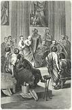 The blind Appius Claudius Caecus speaking in the Roman Senate against Cineas, the ambassador of Pyrrhus of Epiris, 279 BC