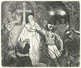 Interruption of a Christian service in the Roman catacombs