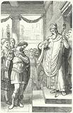 St Ambrose barring the Roman Emperor Theodosius I from entering Milan Cathedral as punishment for the Massacre of Thessalonica, 390