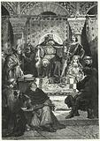 Meeting of the council of the Emperor Charlemagne
