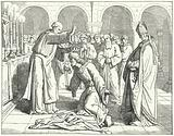 The Holy Roman Emperor Henry II receiving a blessing at the Monastery of St Vitus in Verdun, 1014