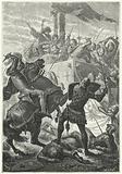 The fight for the Lombards' carroccio at the Battle of Cortenouva, 1237