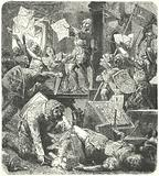 Destruction of Peter Schoffer's printing workshop during the attack on Mainz by the soldiers of Adolph II of Nassau, 1462