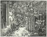 The army of the Holy Roman Emperor Maximilian I storming Szekesfehervar, medieval capital of the Kingdom of Hungary, 1490