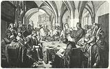 Religious debate between Martin Luther and Huldrych Zwingli at the Marburg Colloquy, 1529