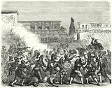 Massacre of Aztec warriors and nobles at Cholula by the Spanish conquistadors of Hernan Cortes, 1519
