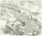 The Union fleet attacking Fort Jackson and Fort St Philip, Louisiana, American Civil War, 1862