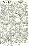 Title page from the first edition of Sebastian Brant's Ship of Fools, printed by Johann Bergmann von Olpe in Basel in …