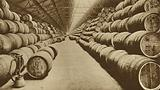 Barrels of rum stored in a warehouse at West India Docks