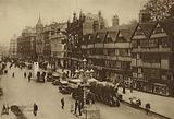 Leaning timbered gables of the Sixteenth Century in Twentieth Century Holborn