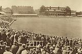 Looking towards the Pavilion from the Mound Stand at Lord's cricket ground