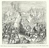 Queen Philippa haranguing her troops before the Battle of Neville's Cross