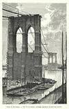 Pont de Brooklyn, Vue de la travee mediane pendant la pose des cables