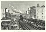 Double voie du chemin de fer aerien dans la Septieme Avenue, a New-York