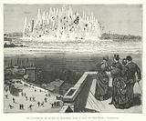 La destruction du rocher de Hell-Gate dans le port de New-York, l'explosion