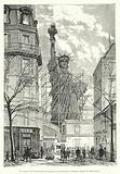 La statue de la Liberte dans les ateliers de construction