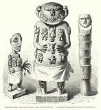 Tahitian idols, carved in wood