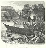 Landscape in Tierra del Fuego, with canoes, paddles, harpoons, lances