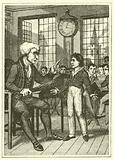 Schoolmaster about to beat a boy, early 19th century