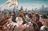 French cavalry charging the English longbowmen, Battle of Crecy, Hundred Years War, 1346