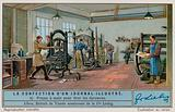 Production of an illustrated newspaper: hand press to produce proofs