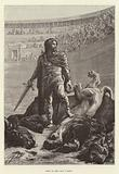 Pepin le Bref dans l'arene. Pepin the Short in the arena after killing a lion and a bull.