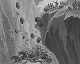 The soldiers of Pelagius of Asturias rolling boulders down a mountain precipice onto a Muslim army in Spain, 8th Century