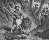 Pepin the Short, King of the Franks, proving his stature is no impediment on his ability to rule by killing a lion