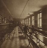 Smoking room in a Rowton House, a chain of hostels for working men in London opened between 1892 and 1905