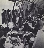 Londoners sheltering from a German air raid in an Underground station during the Blitz, World War 2, 1940