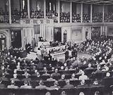 The US Congress passing the Lend-Lease Act permitting the supply of military equipment to Britain, World War 2, 1940