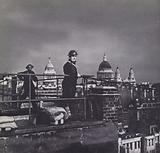 Air raid wardens fire watching on the rooftops of London during the Blitz, World War 2