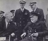 US President Franklin D Roosevelt and British Prime Minister Winston Churchill meeting to agree the Atlantic Charter, World War 2, August 1941